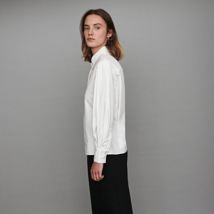 Jeweled button poplin shirt : Winter collection color White