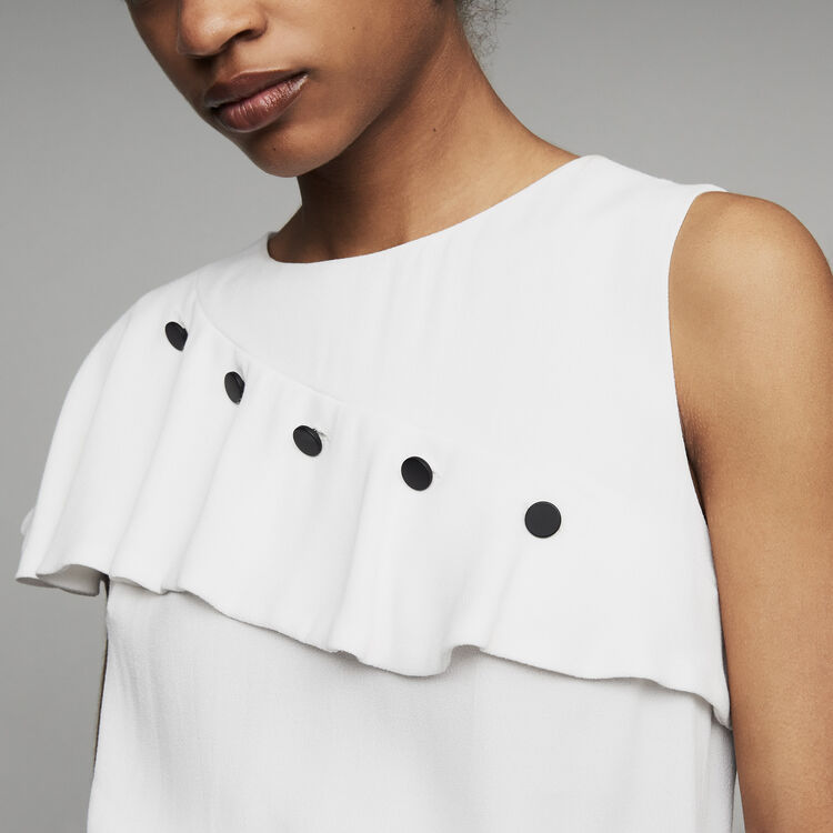 Sleeveless top with ruffle  : Ready to wear color White
