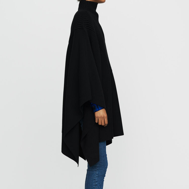Knit poncho with trucker collar : Knitwear color Black 210