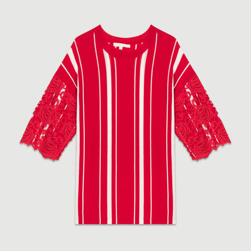 Striped t-shirt with lace sleeves : Knitwear color ROUGE