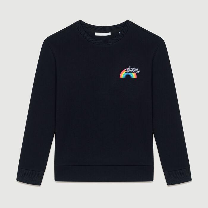 Graphic fleece sweatshirt : Knitwear color Black 210