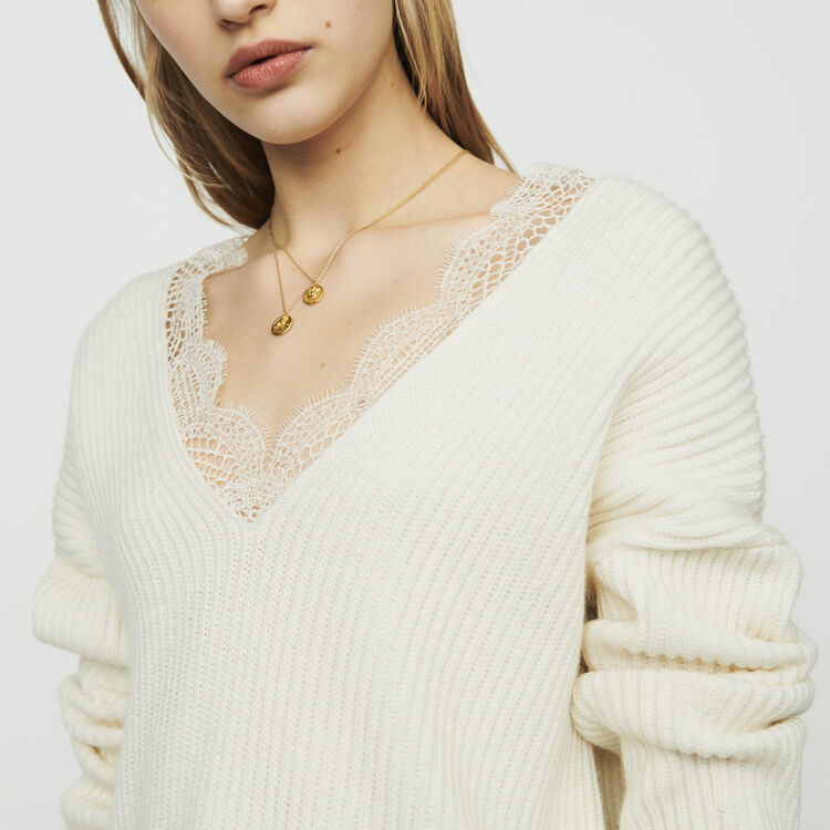 Oversized sweater with lace : Pullovers & Cardigans color Ecru
