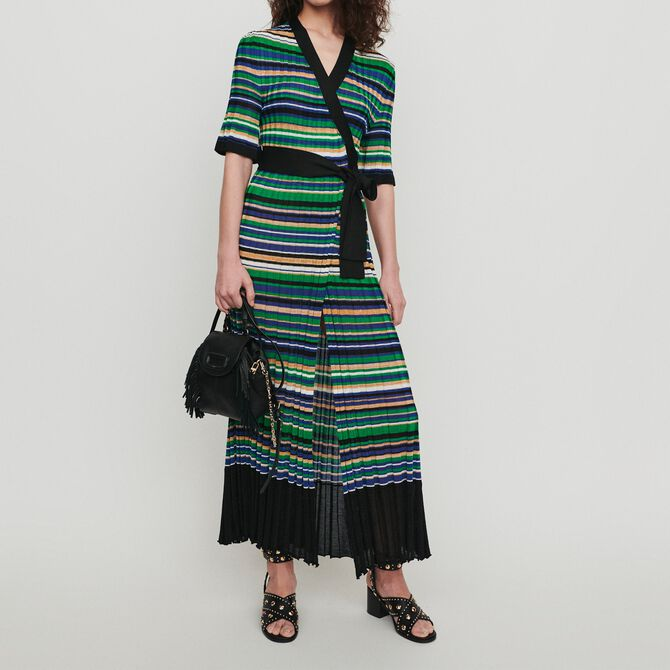 Long dress in striped knit - Dresses - MAJE