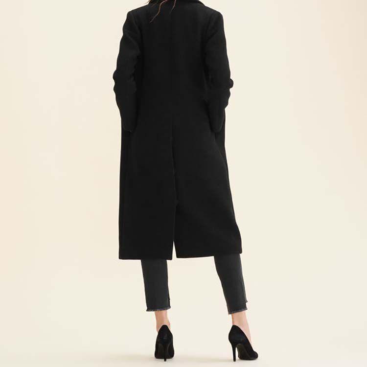 Long wool-blend coat : Coats color Anthracite