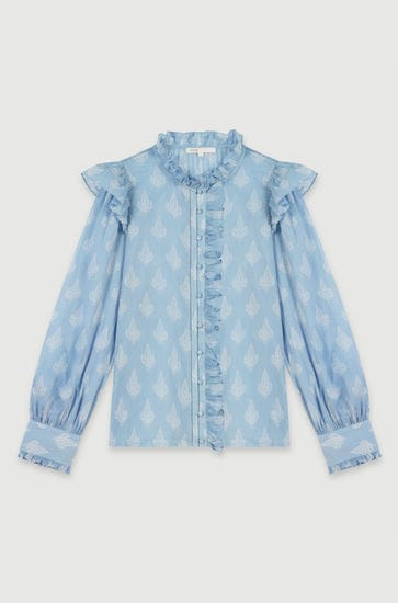 Printed-cotton voile ruffled top