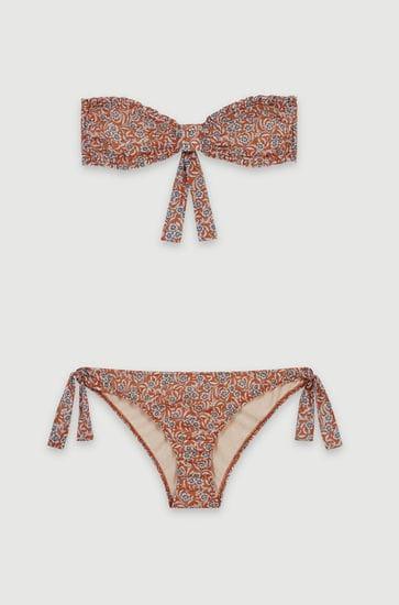 Floral-print cotton bikini
