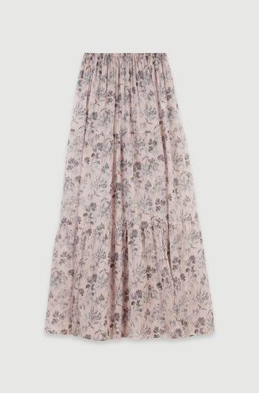 Long floral-print cotton voile skirt