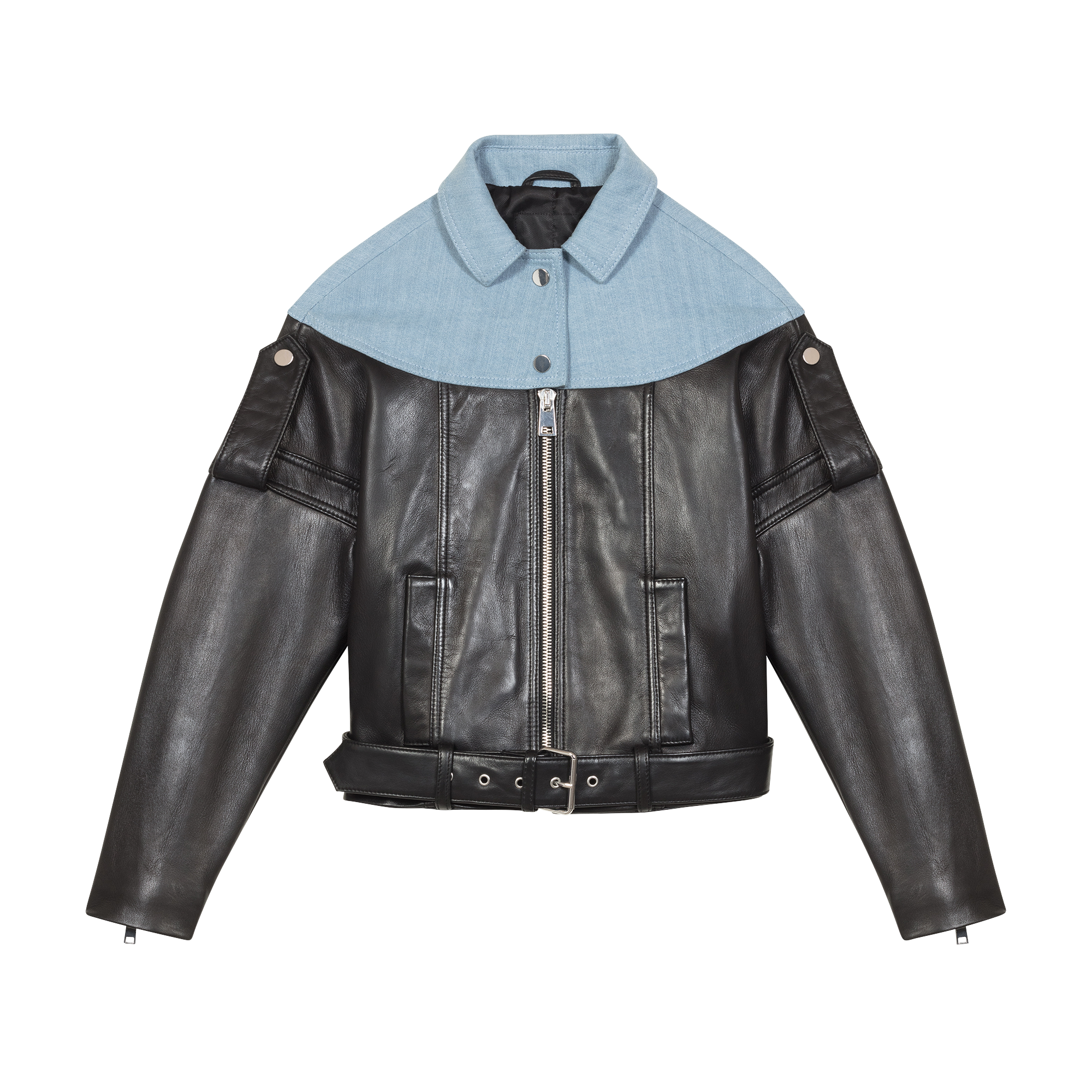 Leather and denim jacket - Jackets - MAJE