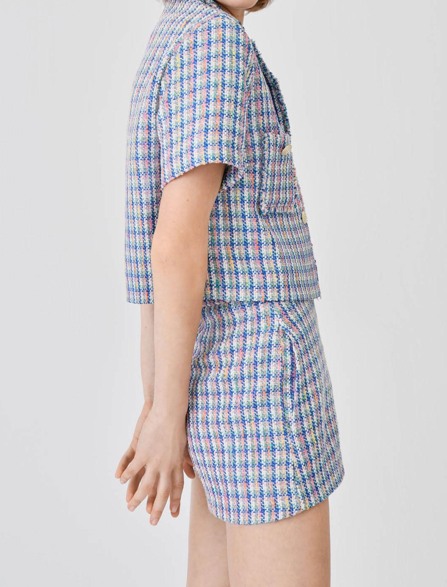 maje SHORT-SLEEVED TWEED JACKET Tweed Style Shorts