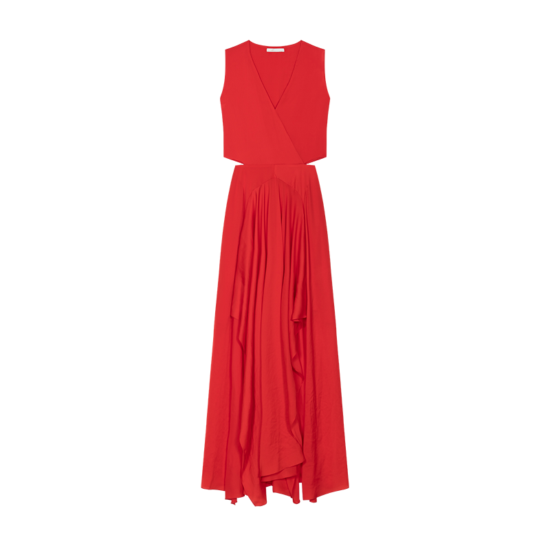 Maxi dress with flounce detail - Dresses - MAJE