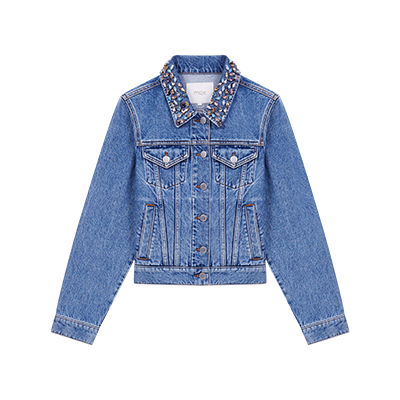 Denim jacket with gem collar - containerSelection - MAJE